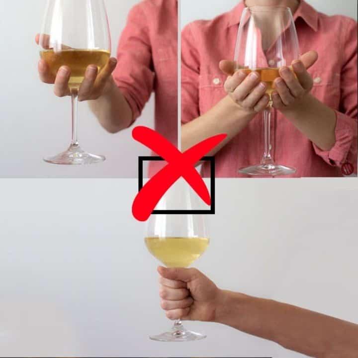 Không cầm bầu ly khi uống rượu vang
